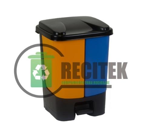 Contenedor reciclaje doble con pedal 20 Lts