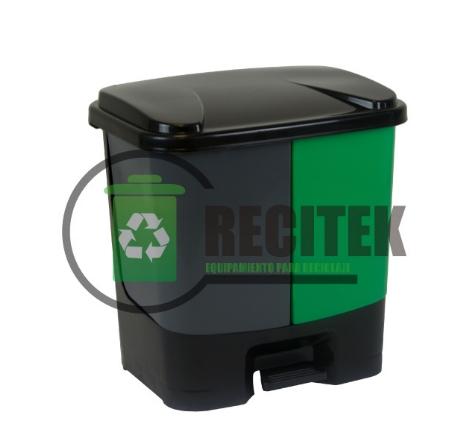 Contenedor reciclaje doble con pedal 40 Lts