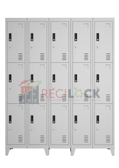 Lockers Metálicos: 5 Cuerpos y 15 Puertas