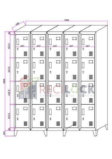 Lockers Metálicos: 5 Cuerpos y 20 Puertas