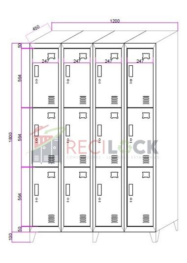 Lockers Metálicos: 4 Cuerpos y 12 Puertas