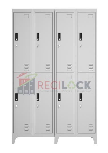 Lockers Metálicos: 4 Cuerpos y 8 Puertas