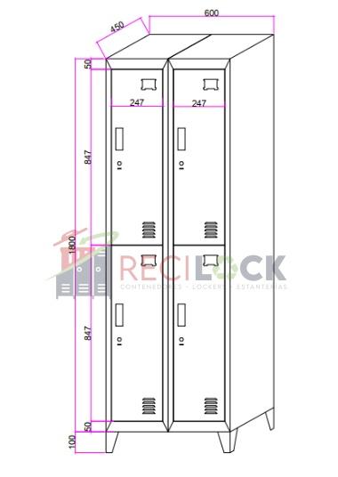 Lockers Metálicos: 2 Cuerpos y 4 Puertas