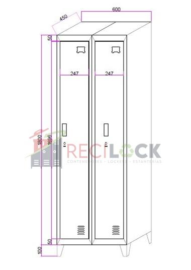 Lockers Metálicos: 2 Cuerpos y 2 Puertas