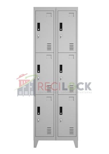 Lockers Metálicos: 2 Cuerpos y 6 Puertas