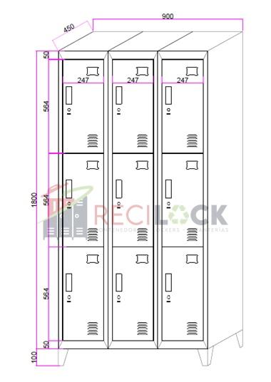 Lockers Metálicos: 3 Cuerpos y 9 Puertas