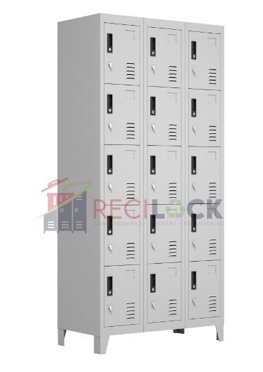 Lockers Metálicos: 3 Cuerpos y 15 Puertas