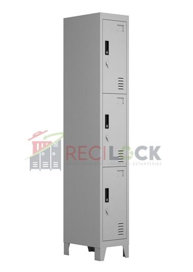 Lockers Metálicos: 1 Cuerpo y 3 Puertas