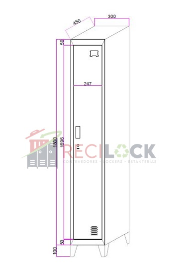 Lockers Metálicos: 1 Cuerpo y 1 Puerta