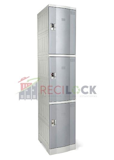 Lockers Plásticos: 1 Cuerpos y 3 Puertas